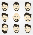 hairstyles hipster beard and a gray background vector image vector image