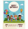 happy birthday kids card vector image