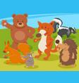 happy cartoon wild animal characters group vector image