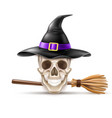 happy halloween elements witch hat broom vector image
