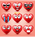 heart smiley emoji set for valentines day vector image vector image