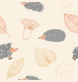hedgehog autumn seamless pattern vector image vector image