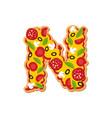 letter n pizza font italian meal alphabet vector image