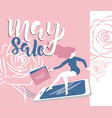 may sale flyer template with handwritten lettering vector image vector image