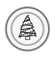 monochrome contour circle with christmas tree vector image vector image