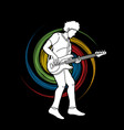 musician playing bass music band vector image