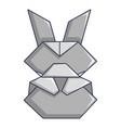 origami bunny icon cartoon style vector image