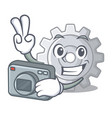 photographer gear settings mechanism on mascot vector image