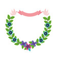 pigeons ribbon garland flowers decoration vector image