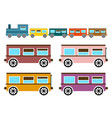 retro flat design trains isolated on white vector image