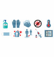 set covid-19 warning signs vector image