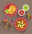 set traditional mexican food with spicy sauce vector image