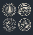 set vintage seafood on dark background vector image vector image