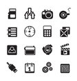 Silhouette Internet and office icons vector image vector image