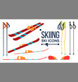 skiing icons different view winter sport vector image