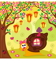 snail in forest vector image