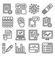 test and check list icons set line style vector image