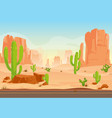 texas desert landscape with cactuses road mountain vector image vector image