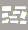 torn sheets paper set with strips and pieces vector image