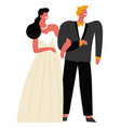 wedding day bride and groom holding hands vector image vector image
