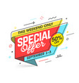 weekend special offer banner template in flat vector image vector image