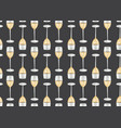 wine glasses seamless pattern on black background vector image