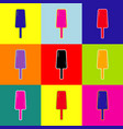ice cream sign pop-art style colorful vector image