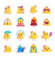 chicken cartoon character icons big set vector image