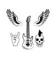 rock n roll symbol electric guitar punk skull icon vector image
