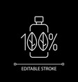 100 percent natural white linear icon for dark vector image