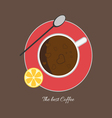 A cup of coffee with bubbles a spoon vector image