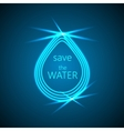 Abstract blue shiny water drop on dark background vector image vector image