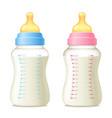 Baby sucking bottles set vector image