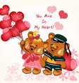 beautiful valentines day card with couple bears vector image vector image