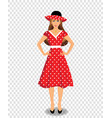 beautiful young woman character wearing red dress vector image