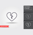 broken heart line icon with editable stroke with vector image vector image