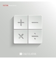 Calculator icon - white app button vector image vector image