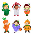 cartoon cute kids in plant costumes set vector image vector image