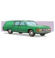 cartoon green long retro car icon vector image vector image