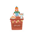 cheerful young girl selling buns loaf and vector image vector image