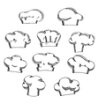 Chef and baker hats or toques sketches vector image vector image