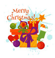 christmas decorations and gift boxes card vector image
