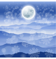 Christmas landscape with full moon vector image