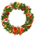 christmas pine wreath with red bow vector image vector image