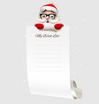 christmas wish list santa claus character holding vector image