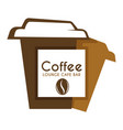 coffee in takeaway or takeout cup isolated icon vector image vector image