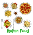 Colored sketch of healthy italian dishes vector image vector image
