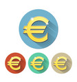 euro signs set on colored circles vector image