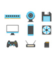 Flat design icons of computer and mobile devices vector image