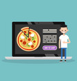 food delivery service conceptual young bearded vector image